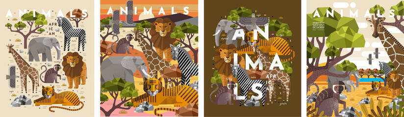 Animals. Vector flat illustrations of giraffe, elephant, monkey, tiger, lion, zebra, eagle, tree, savanna. African flora and fauna drawings for poster or background