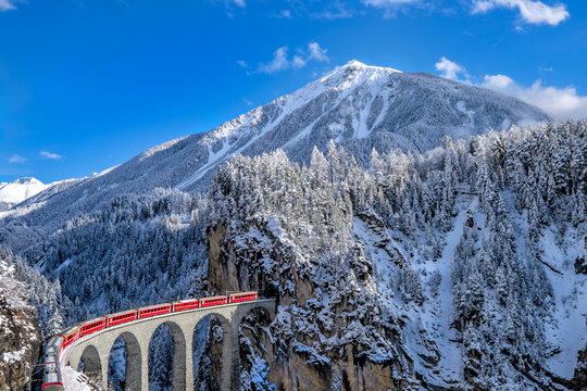Swiss red train in winter time