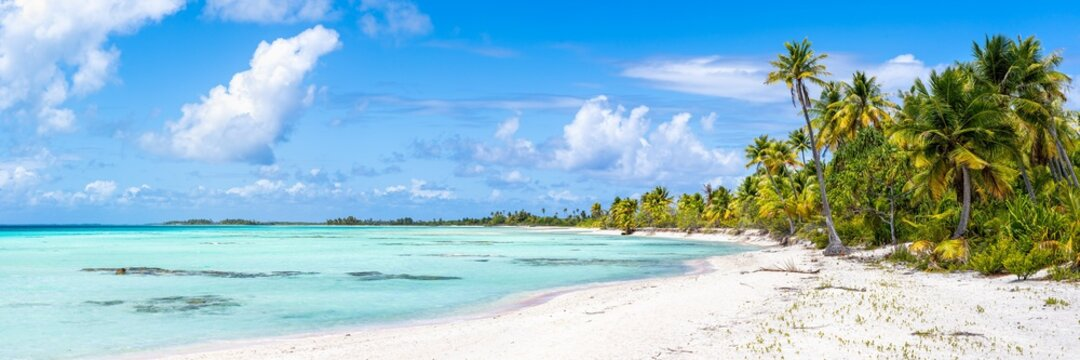Panoramic view of a tropical beach on Tikehau, Tuamotu Archipelago, French Polynesia