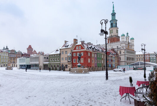 Poznan. Market square on a winter day.