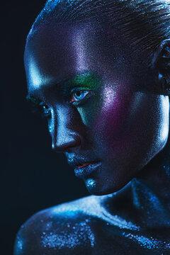 luminous makeup on black skin