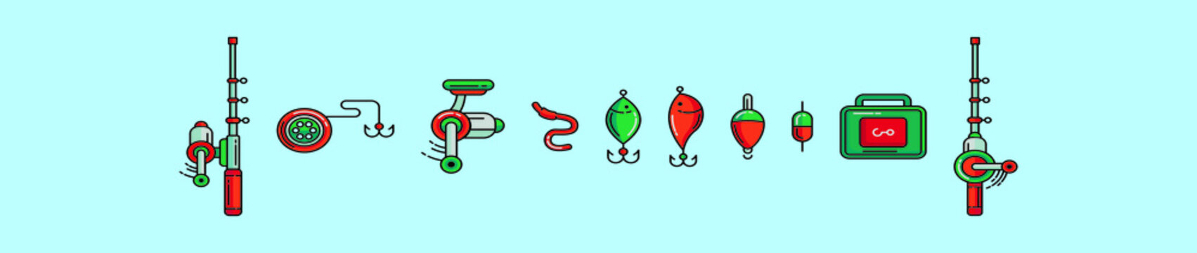 set of fishing tackle cartoon icon design template with various models. vector illustration isolated on blue background