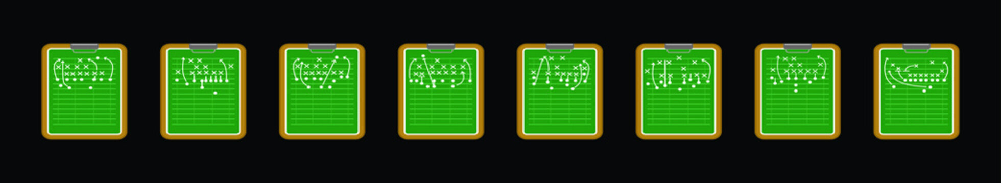 set of football playbook cartoon icon design template with various models. vector illustration isolated on black background