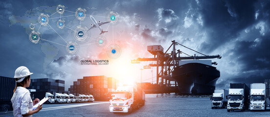 Smart technology concept with global logistics partnership Industrial Container Cargo freight ship, internet of things Concept of fast or instant shipping, Online goods orders worldwide - fototapety na wymiar