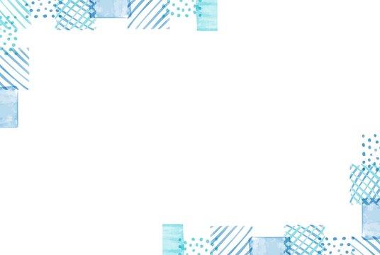 綺麗な青色の水彩しかくフレーム4