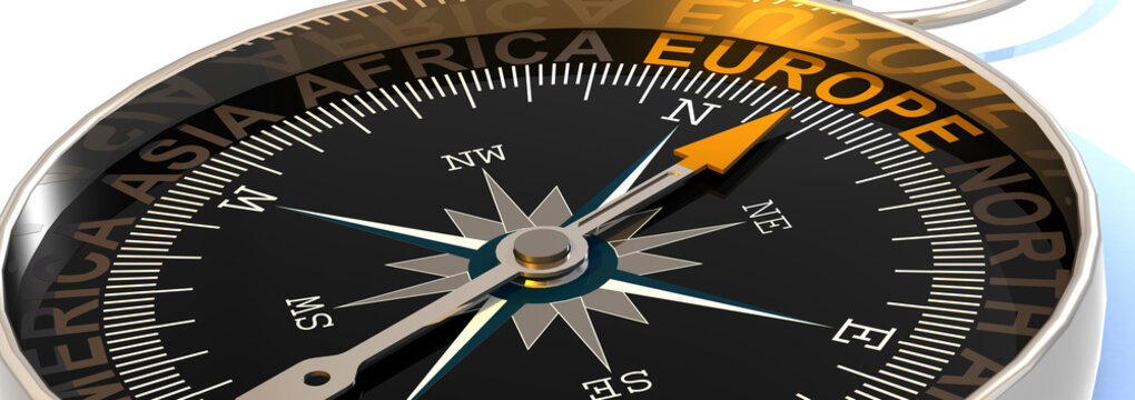 Compass needle pointing to word Europe
