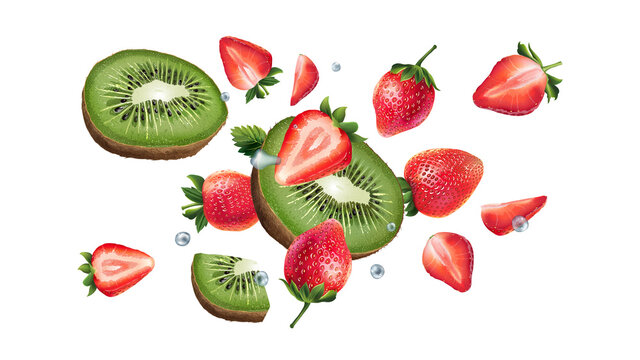 Kiwi and strawberries are flying on a white background.
