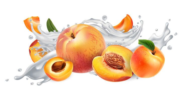 Apricots and peaches in a yogurt or milk splash.