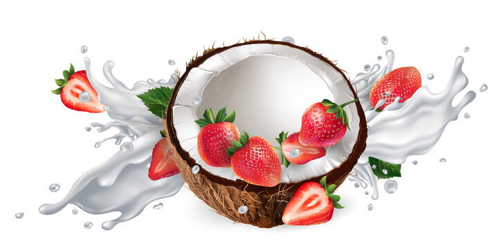 Coconut and strawberries in a milk or yogurt splash.