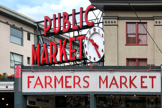 Public Market Center Sign in Seattle, USA