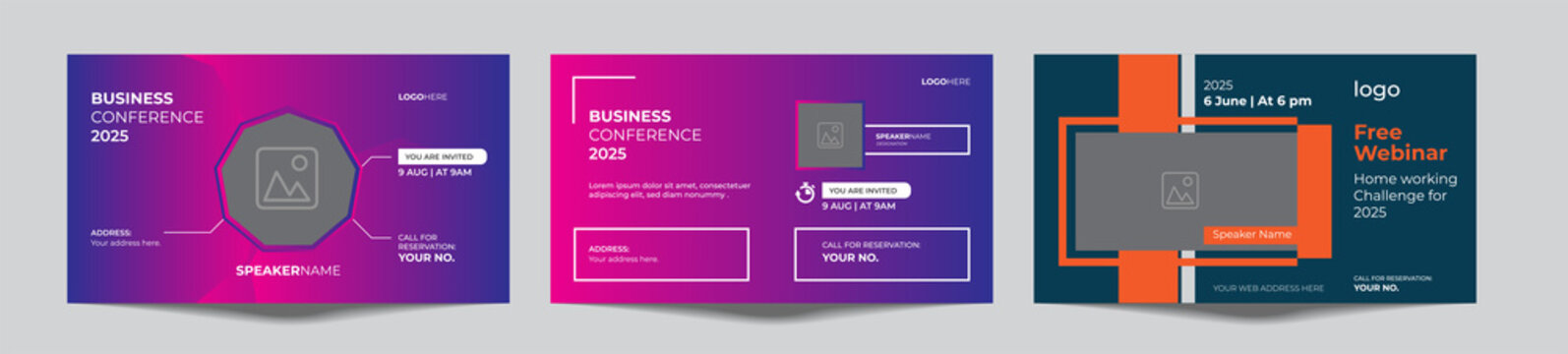 webinar online or offline conference banner template package vector eps 10.Banner live webinar promotion for social media. online meeting work from home.  Announcement poster concept in flat style.