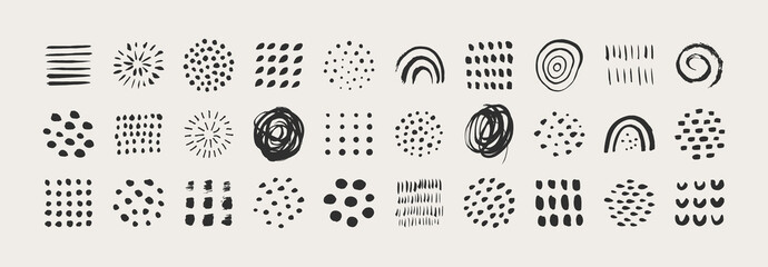 Fototapeta Abstract Graphic Elements in Minimal Trendy Style. Vector Set of Hand Drawn Texture for creating Patterns, Invitations, Posters, Cards, Social Media Posts and Stories