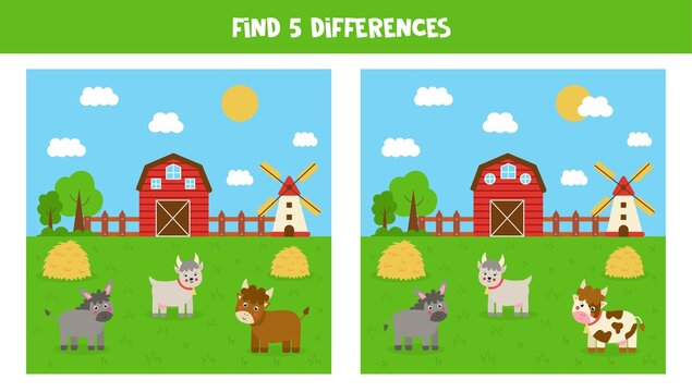 Find 5 differences between farm pictures. Game for kids.