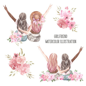 Watercolor spring composition. Woman and girlfriend illustration, floral bouquet, isolated on white background