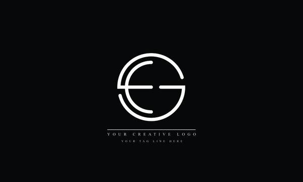 GE, EG, G, E abstract vector logo monogram template