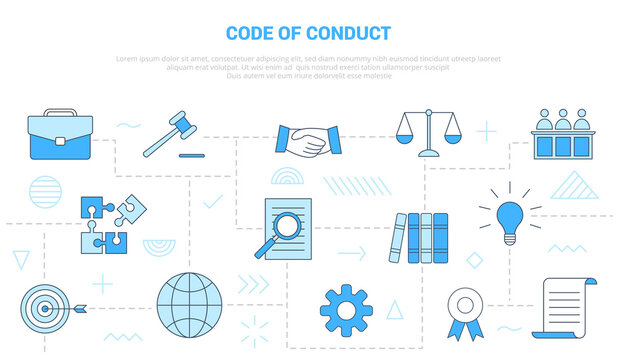 code of conduct concept with icon set template banner with modern blue color style