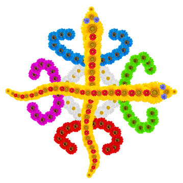 Native symbol  of  Unity in Diversity  made from flowers isolated