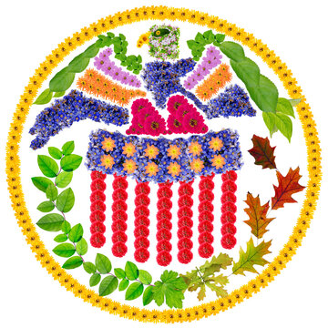 Public symbol  of united state federal reserve system made from flowers isolated