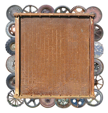 Rusty radiator of  tractor framed by vintage wheels  photo collage isolated
