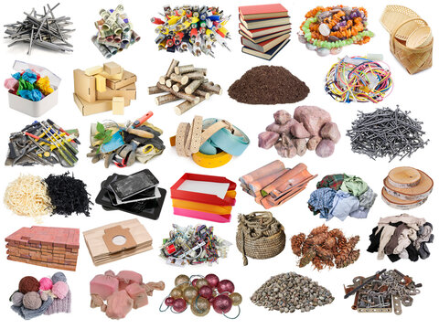 Small  piles of various inedible objects and things set isolated
