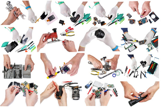 The  repairman repair of various things  and objects set isolated
