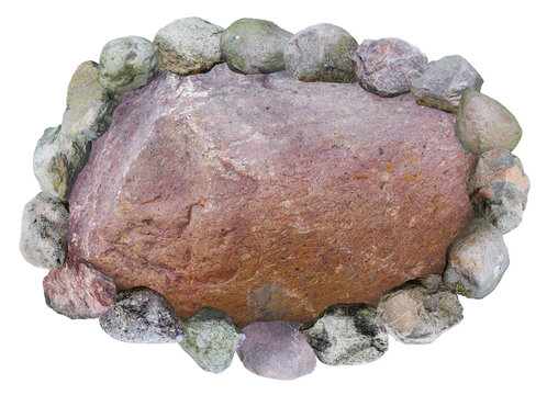 Large granite boulder framed by other stones photo collage isolated