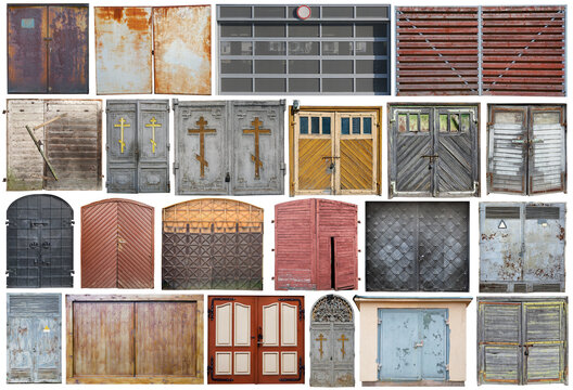 Various wooden and iron gates set isolated