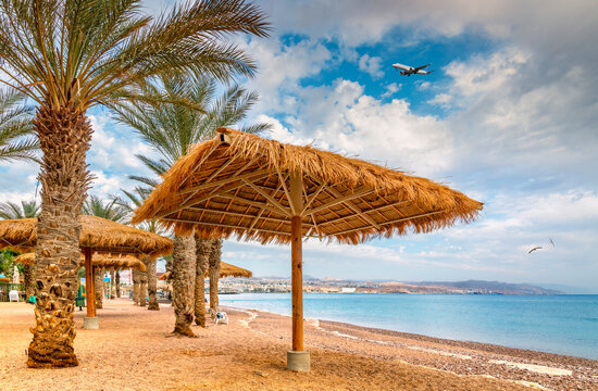 Morning at central public beach in Eilat – famous tourist resort and recreational city in Israel, Middle East