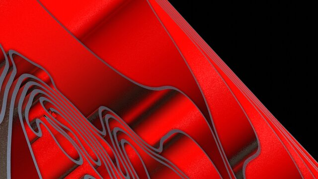 Abstract 3D render red black colorful spline strips rows light and shadow curves flowing motion movement surface texture waves background.