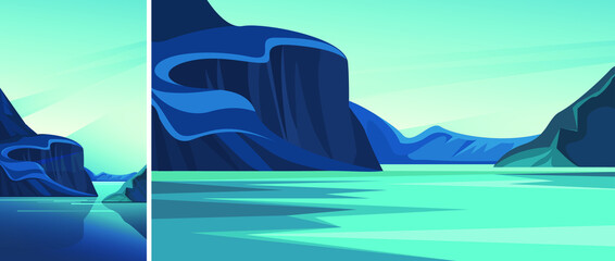 Wall Murals Green coral Fjord With Blue Water Set Natural Landscapes Vertical Horizontal Orientation