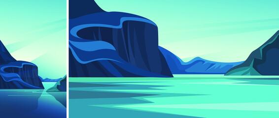 Fjord With Blue Water Set Natural Landscapes Vertical Horizontal Orientation
