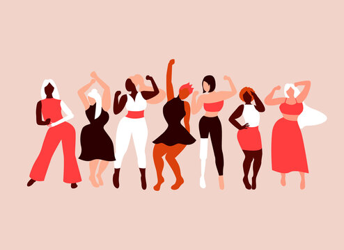 Happy girls dancing. Body positivity. Love your body. Different skin color and body size women characters. Flat vector illustration for postcard, banner, poster, app. Eps 10