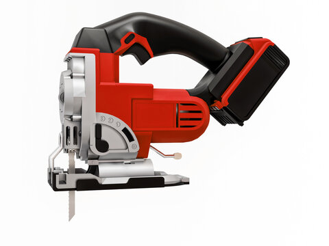 The tool is a red electric jigsaw on a white isolated background. 3d rendering.