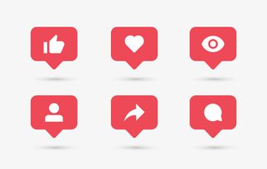 Fototapeta Social media notification icons in speech bubbles like love comment share follower seen icon obraz