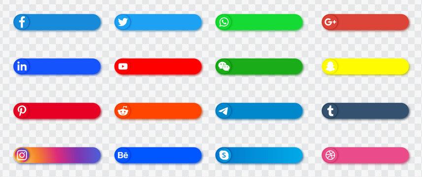 Social media icons banners buttons logos, facebook, twitter, instagram, youtube, google plus, telegram, reddit, dribbble, vimeo, snapchat, linkedin, whatsapp, tiktok, pinterest, behance logo icon