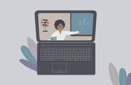 The concept of distance learning, e-learning or online training during the virus epidemic.Laptop with open Internet page with african english teacher and books. For ad online language schools.Raster