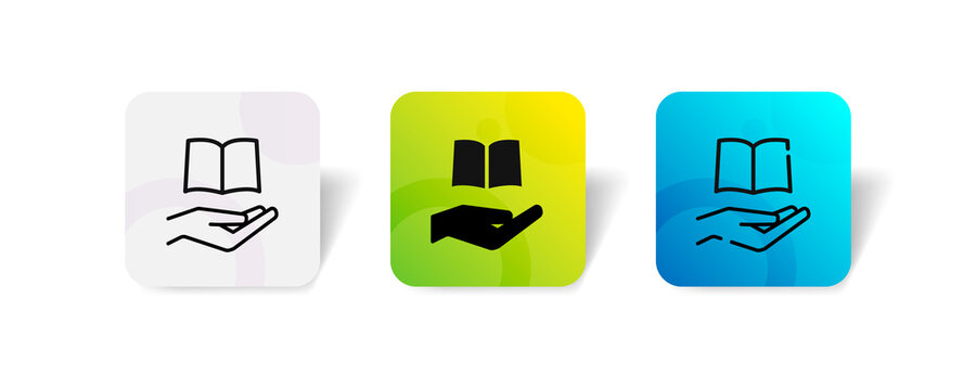 pixel perfect hand with book donation charity education icon set in line, solid, glyph, 3d gradient style