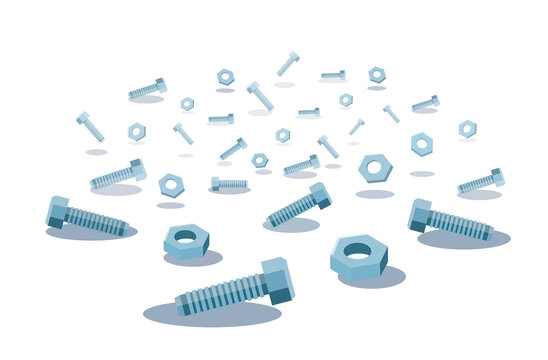 screws and nuts background vector illustration