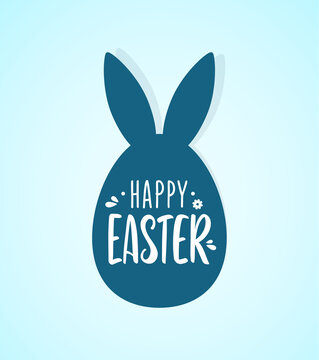 Vector Hand drawn lettering of Happy Easter with egg and bunnys ears.