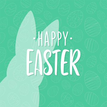 Vector Hand drawn lettering of Happy Easter with bunnys silhouette.