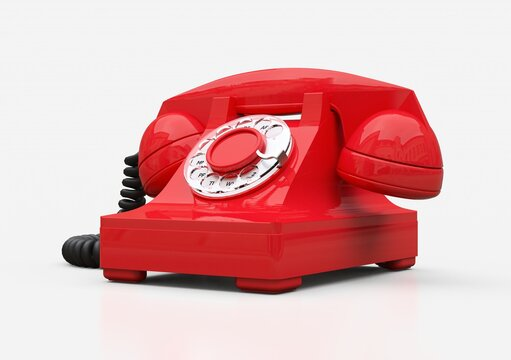 Old red dial telephone on a white background. 3d illustration.