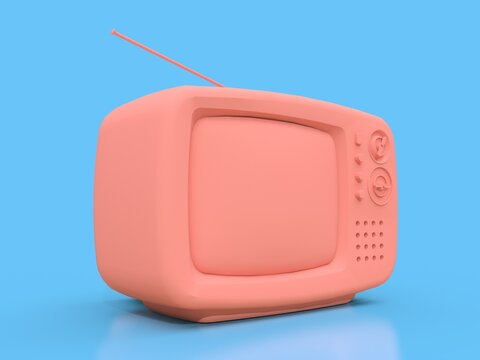 Cute old pink tv with antenna on a blue background. 3d illustration.