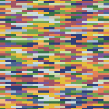 Seamless pattern of many multi-colored bricks squares of impressionism colors. Design mosaic background vector illustration. Abstract square geometric background.