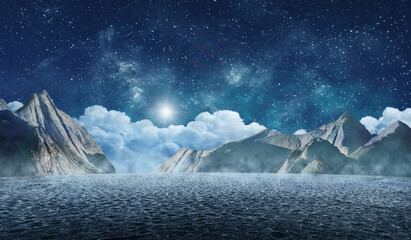 starry night sky in surreal desert landscape