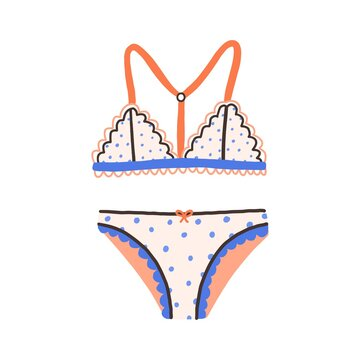 Female underwear with polka dot pattern. Elegant cute lingerie with wireless bra and panties. Brassiere with straps and laces. Colored flat vector illustration isolated on white background