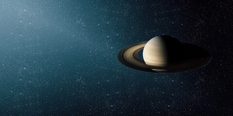 Wall Mural - View of the saturn from the moon. Elements of this image furnished by NASA