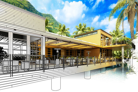Resort Terrace Restaurant Area (planning) - 3d architectural visualization