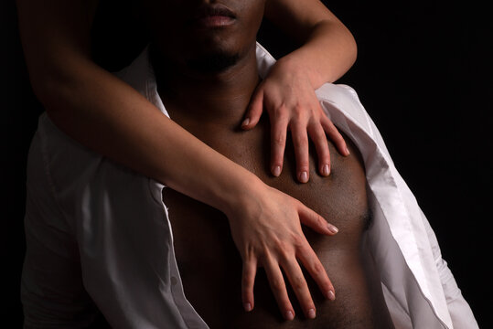 Multiethnic, Black man with woman. African man with girl. Female dominates a male. Interracial sex.