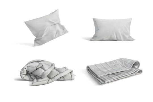 A set of pillows and blankets on a white background. Vector illustration