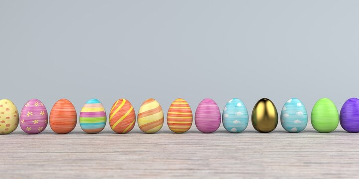 Colored easter eggs on the wooden background. 3d illustration.